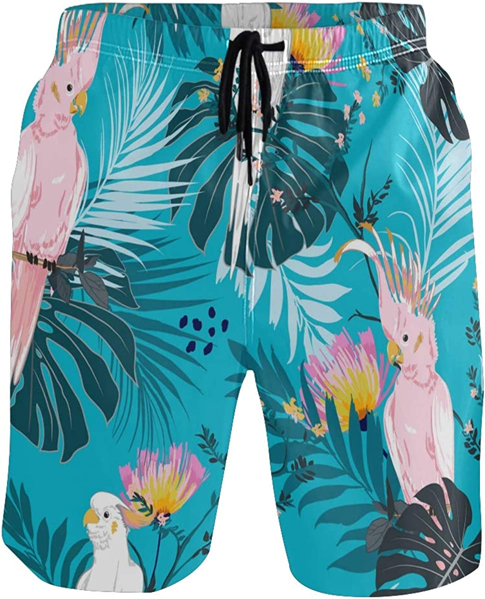 Mens Swim Trunks Tropical Floral Parrot Beach Shorts for Men Funny with Pocket