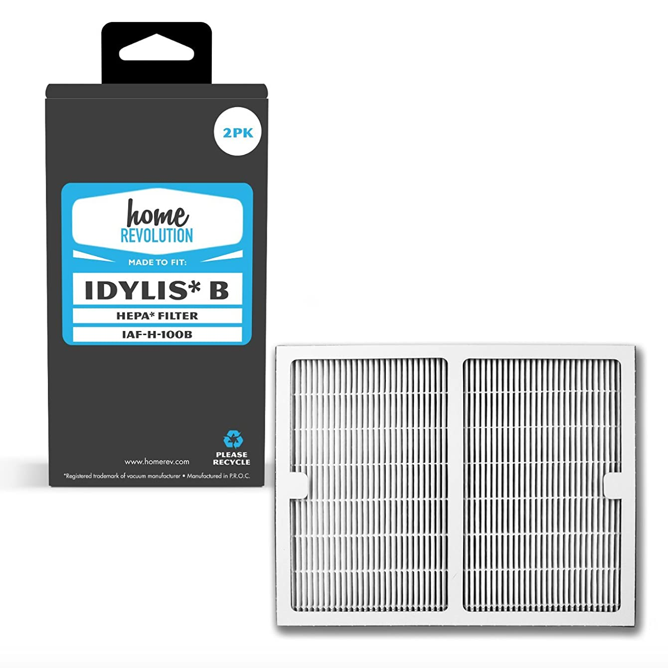Home Revolution 2 Replacement HEPA Filters, Fits Idylis IAP-10-125 and IAP-10-150 Air Purifiers and Type B Part IAF-H-100B