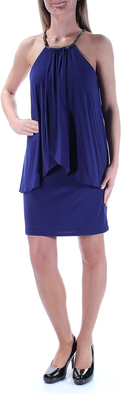 Betsy & Adam Women's Petite Embellished Blouson Dress (Night, 2P) Blue