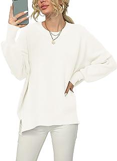Women Crewneck Batwing Sleeve Oversized Side Slit Ribbed...