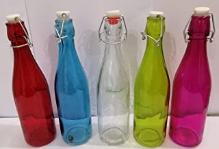 Harmony 50094-2P Glass Bottle With Clip, 0.5L, Assorted Colours
