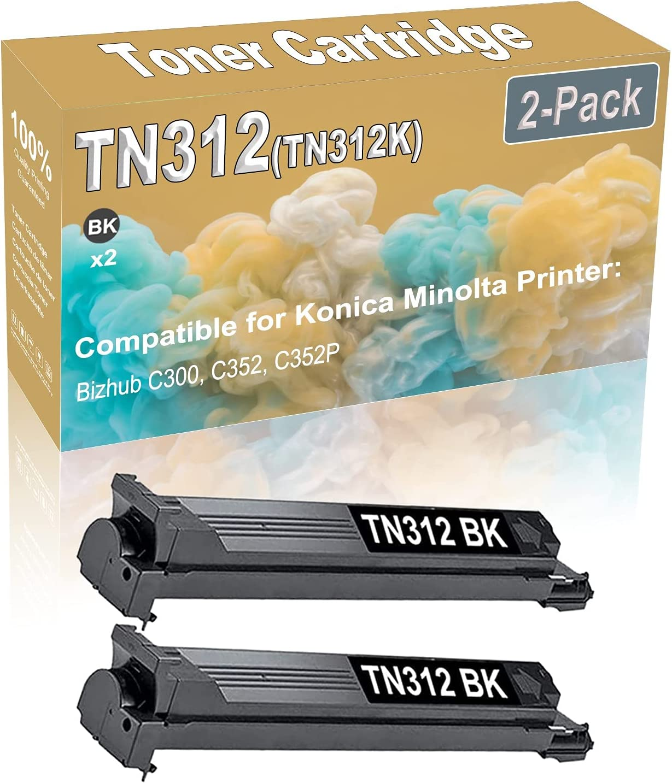 2-Pack (Black) Compatible Bizhub C300 C352 C352P Laser Printer Toner Cartridge (High Capacity) Replacement for Konica Minolta TN312 (TN312K) Printer Toner Cartridge