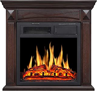 R.W Flame Electric Fireplace Mantel Wooden Surround Firebox Free Standing, Adjustable Led Flame, Remote Control (Brown)