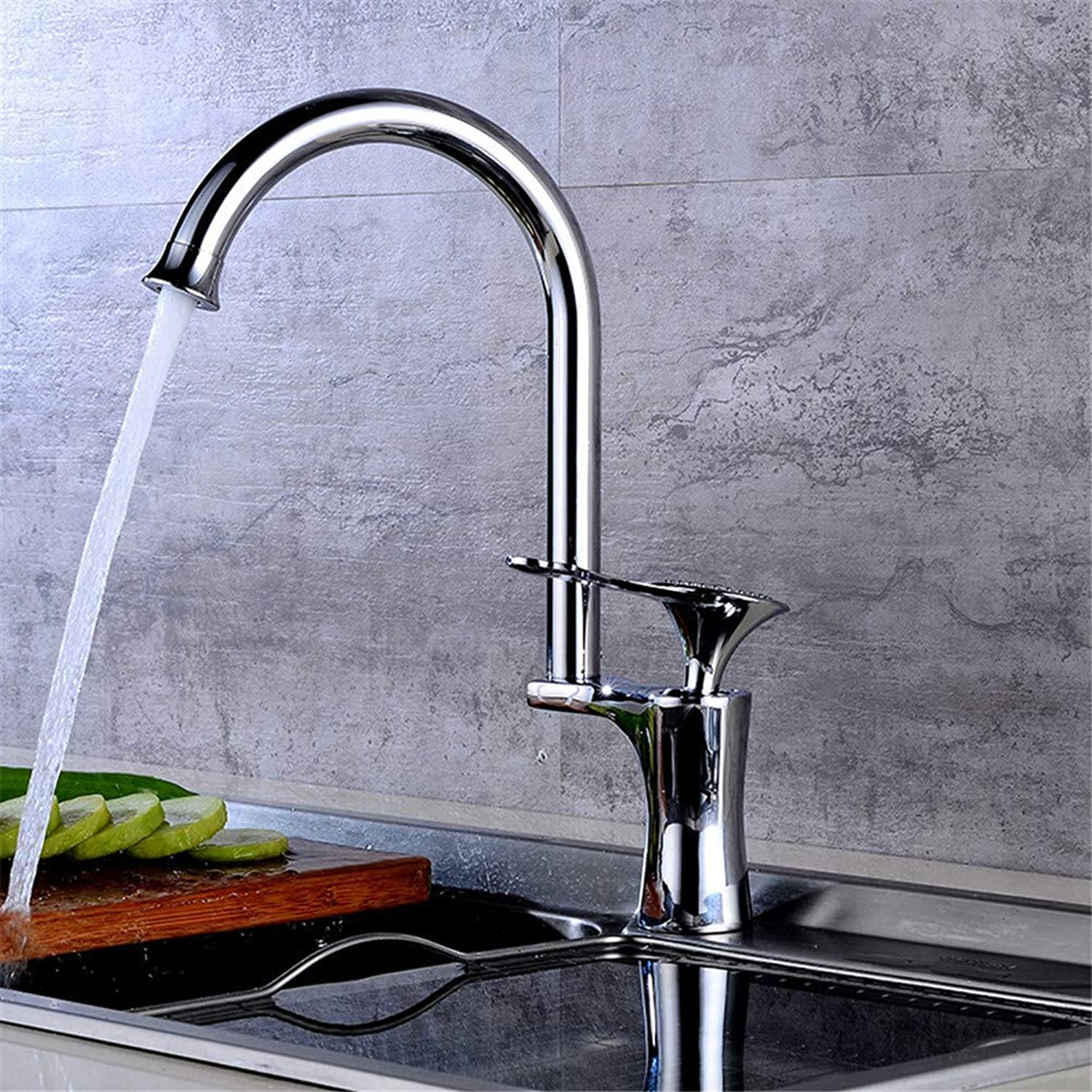 Faucet-Stainless Steel Kitchen Faucet Thickened 360 Degree redating Black Deck Mounting Hot and Cold Basin Faucet,D