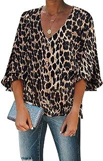 GOSOPIN Women Casual Loose Long Sleeve Striped Button Down Blouse Tops