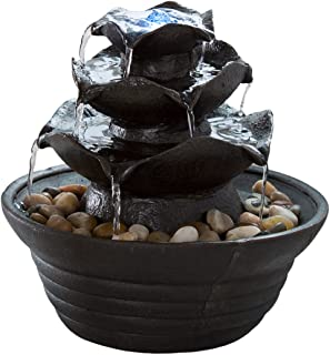 Indoor Water Fountain With LED Lights- Lighted Three Tier Soothing Cascading Tabletop Fountain With Rocks for Office and Home Décor By Pure Garden