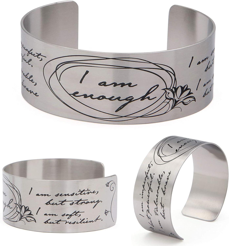 Vera Viva I Am Enough Artistic Calligraphy Adjustable Cuff Bracelet