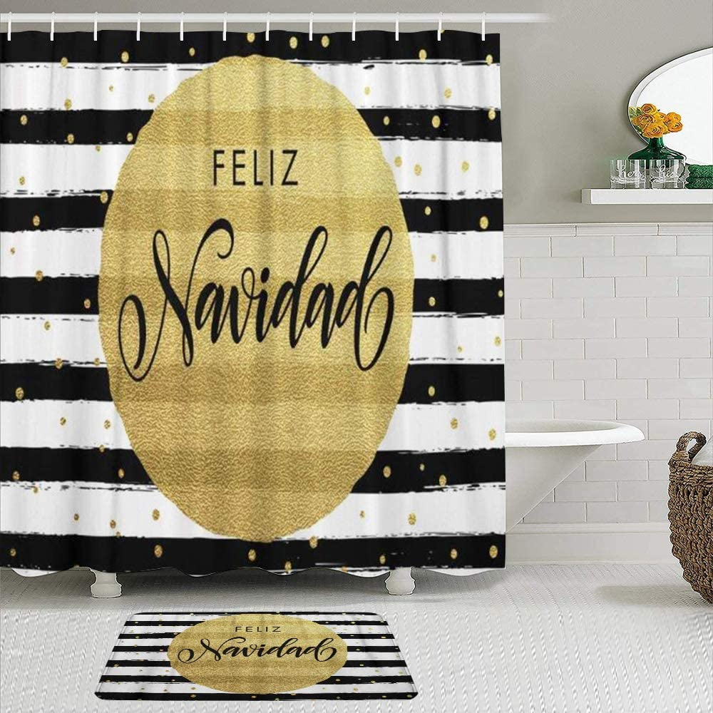 KENADVI Shower Curtain Sets Baltimore Mall with Non-Slip Merry F Christmas Austin Mall Rugs