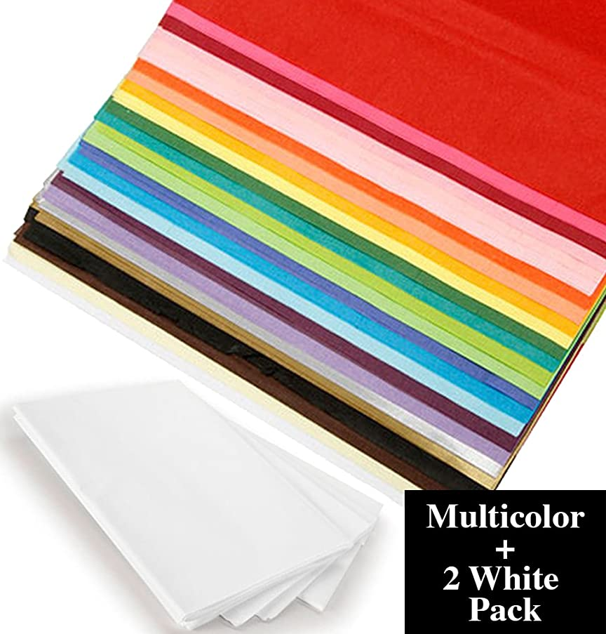 Multi Color Gift Wrapping Tissue Paper, Bulk 100 Pack 20x26 Bundle with White Tissue 2 Pack – for Gift Wrapping, DIY Arts and Crafts