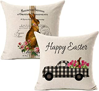 Kithomer Easter Rabbit Throw Pillow Case 18 x 18 Inch Vintage Truck Cushion Cover Spring Home Decoration Cotton Linen Set ...