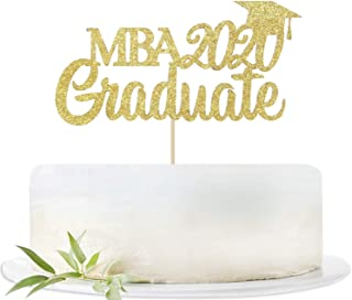 Gold Glitter MBA 2020 Graduate Cake Topper Party Decor Congrats Grad Photo Prop High School Graduation Celebration Party S...