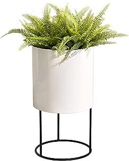Modern Tall White Floor Planter Stand - Knox Planter. Best Round Metal Planter Indoor Outdoor Pot 12