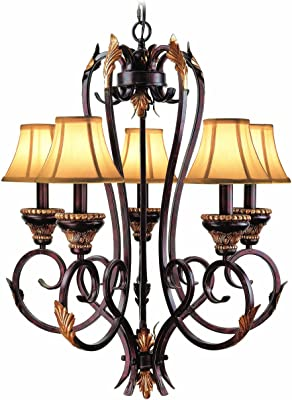 Woodbridge Lighting 12070-BOR 5-Light Harrington Chandelier, Bordeaux