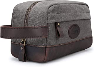 S-ZONE Vintage Leather Canvas Men Toiletry Bag Shaving Dopp Case Dopp Kit Makeup Bag Groomsmen Gifts