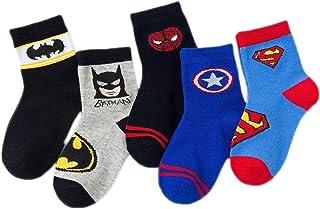 WZSFPD, 5 pares de calcetines antideslizantes de algodón con diseño de anime de dibujos animados para niños, calcetines divertidos para niños de 1 a 12 años (color: Batman, talla: XL)