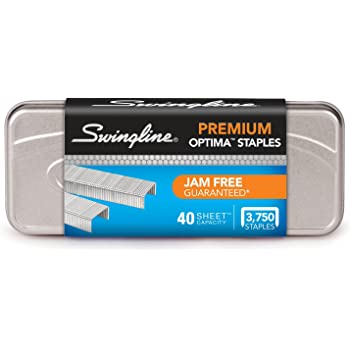 "Swingline Staples, Optima, Premium, 1/4"" Length, Jam Free Staples for Swingline Stapler Heavy Duty, Perfect for Home Office Supplies & Desktop, 40 Sheet Capacity, 210/Strip, 3750/Box, 1 Pack (35556)"