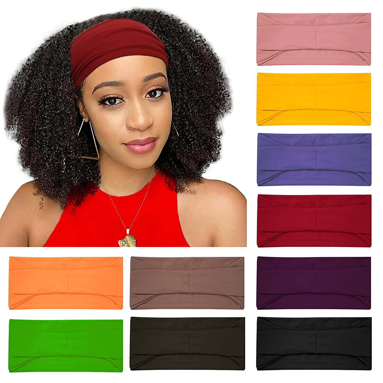 10 Pack Wide Headbands for Women, Workout Yoga Running Sports Headband Elastic Hair Bands, Boho Non Slip Sweat Head Bands Thick Head Wrap (solid headbands)