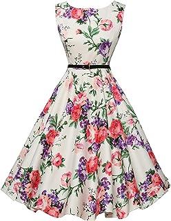 190c21b00ab GRACE KARIN Boatneck Sleeveless Vintage Tea Dress Belt