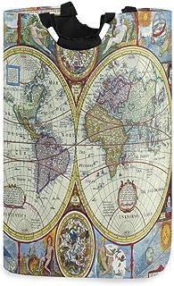 Vintage Map Compass Panier à linge Panier Grand bac de rangement pour jouets avec poignées pour enfants Panier-cadeau Tiss...