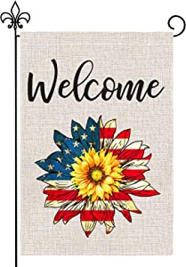 4th of July Garden Flag, GoChes 12 x 18 Inch American Flag Patriotic Welcome Garden Flag for Independence Day Memorial Day Yard Outdoor Decoration,Double Sided, Sunflower