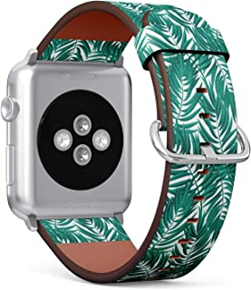 [ Compatible with Big Apple Watch 42mm / 44 mm ] Replacement Leather Band Bracelet Strap Wristband Accessory // Tropical Palm Leaves Tropic Leaf