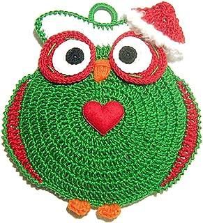 Agarradera verde de ganchillo en forma de búho para Navidad - Tamaño: 15 cm x 16 cm H - Handmade - ITALY