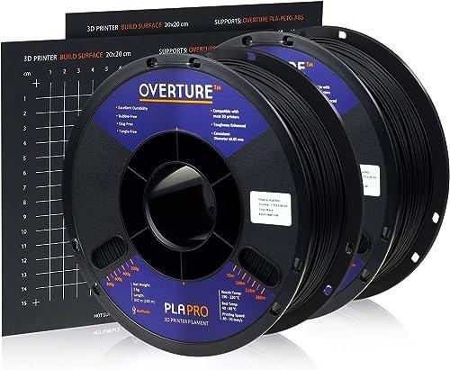 Overture PLA Plus (PLA+) Filament 1.75mm Toughness Enhanced PLA Roll with 3D Build Surface 200 × 200mm, Premium PLA 1...
