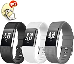 [3-Pack] IYOU Compatible for Fitbit Charge 2 Replacement Bands, Classic Edition Adjustable Silicone Sport Wristbands Fitbit Charge 2 Bands for Women and Men, Small,【Gift】 1X Finger Ring Stand