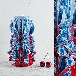 Candele Intagliate Piccole Grandi Azzurre Un Regalo Speciale per il Natale e per Rendere Casa più Accogliente - Fatti a Ma...