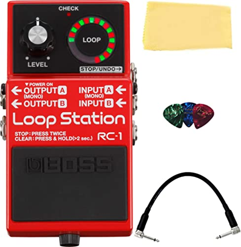 BOSS RC-1 Loop Station Bundle with Fender Play Online Lessons, Picks, Patch Cable, and Austin Bazaar Polishing Cloth