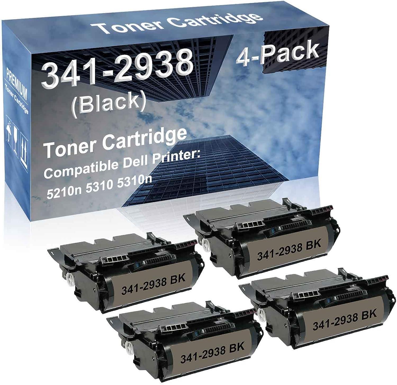 4-Pack Compatible High Capacity 5210n 5310 5310n Printer Toner Cartridge Replacement for Dell 341-2937 341-2938 Toner Cartridge (Black)