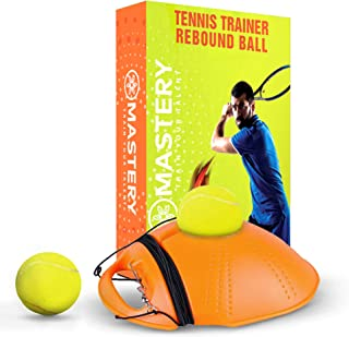Mastery Tennis Trainer Rebound Ball - Solo Tennis Trainer Tool with Long Rope and 2 Training Balls - Self-Study Power Base Rebounder Tennis Practice Equipment