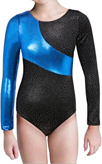 Gymnastics Long Sleeve Leotards for Girls Kids Ballet Sparkle Ribbons Dancewear