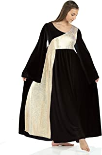 Danzcue Womens Shimmery Asymmetrical Bell Sleeve Dance Dress