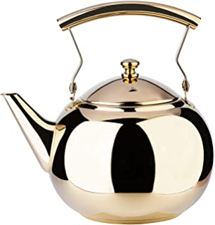 white and gold tea kettle