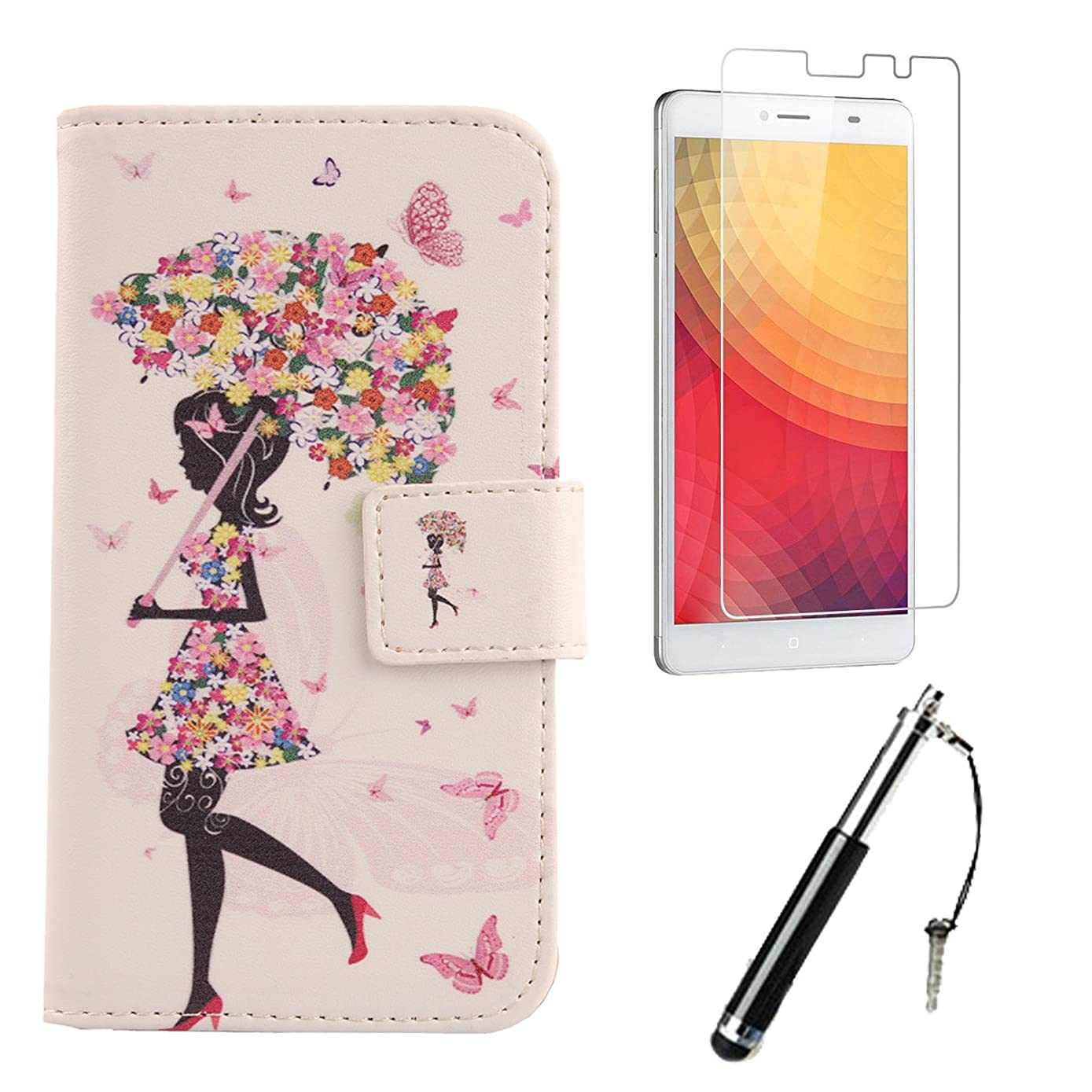 Lankashi 3in1 Set Pattern Design PU Leather Wallet Flip Cover Skin Protection Case With Tempered Glass Screen Protector Flim Stylus Touch Writing Pen For Doogee Y6 Max 6.5