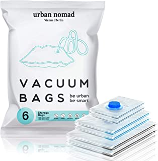 Urban Nomad Sac sous Vide Vetement Aspirateur Lot de 6 - Réutilisable Sacs Compression XL, L, M | 80% l'espace de Stockage...