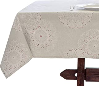 Amelie Michel Wipe-Clean French Tablecloth in Cleome Natural   Authentic French Acrylic-Coated 100% Cotton Fabric   Easy Care, Spill Proof [60