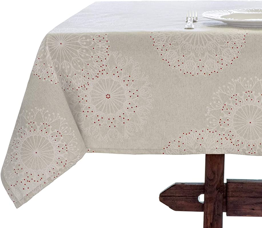 Amelie Michel Wipe Clean French Tablecloth In Cleome Natural Authentic French Acrylic Coated 100 Cotton Fabric Easy Care Spill Proof 60 X 96 Rectangle