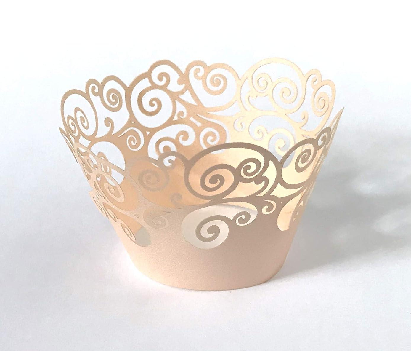 十分転送シェルター12個 スワールデザイン カップケーキラッパー 標準サイズのカップケーキライナー用 (色をお選びください) Standard Size
