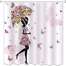 A.Monamour Paraguas Floral Rosa Mariposa Chica con Vestido De Flores Blancos Fondos Impresión Impermeable Tela Moldeada Cortina De Ducha para Niños Decoraciones De Baño 180X180 CM / 72X72 Pulgadas