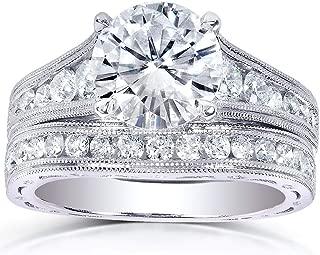 Kobelli Moissanite & Channel Bridal Ring Set 14k White Gold