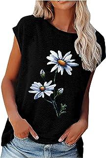 WHZXYDN Zomer dames losse ronde hals bloemenprint korte mouwen top T-shirt