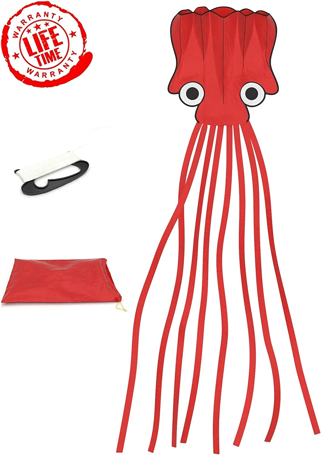 Octopus Kite Easy to Fly Toys for Boys; Lifetime Warranty; Best Quality; LARGE Red Parafoil 16ftx4ft; Folds to Small Bag; With long String, Winder, Full Flying and Folding Instructions;Best Beach kite
