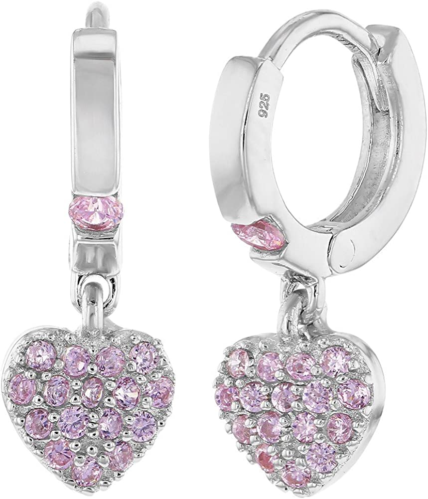 925 Sterling Silver Small Hoop CZ Heart Dangle Fashion 5 popular Earrings for Todd