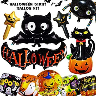 Halloween Ballons Party Supplies Decorations Giant Balloon Kit Supplies Pumpkin Spider Boo Bat Cat Ghosts Giant Aluminum Foil Balloons Decor - Giveaway Double-sided Tape and Straw