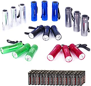 EverBrite 18-pack Mini LED Flashlight Set - Portable Flashlights Ideal for Hurricane Supplies Camping, Night Reading, Cycl...