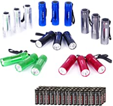 EverBrite 18tlg. Mini LED Taschenlampe Set mit Umhängeband und Batterien, ideal für Geschenk, Camping, Radfahren, Klettern...