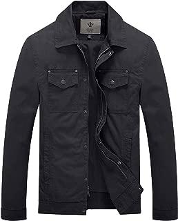 WenVen Men's Fall Military Canavas Cotton Lapel Jacket Windbreaker