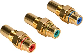 Parts Express Gold Component RCA Jack Bulkhead Red/Green/Blue Set Hex Type